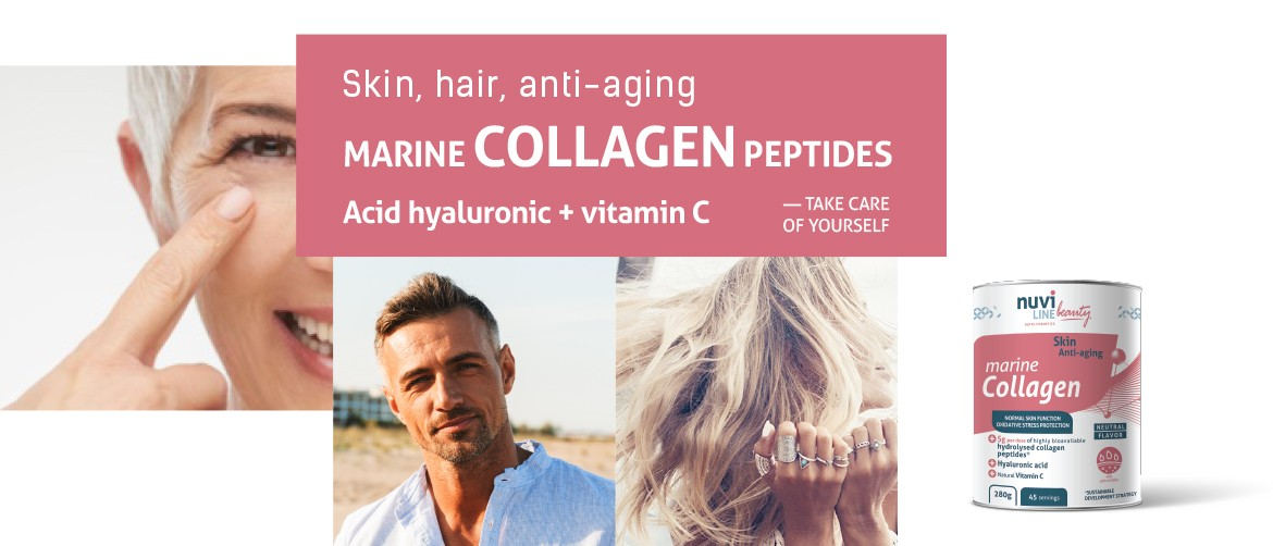 Marine collagen peptides with hyaluronic acid and vitamin C, skin beauty, hair, antiaging